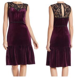 Nanette Lepore Lace Velvet Midi Dress